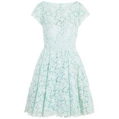 Rental ML Monique Lhuillier Kyoto Bloom Dress ($90) ❤ liked on Polyvore featuring dresses, vestidos, short dresses, green lace dress, lace dress, cap sleeve dress and open back mini dress
