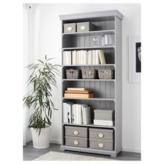 BYHOLMA grey, Basket, 25x29x15 cm - IKEA Home Office Design, Gray Baskets, Interior, Grey Office, Bookshelves, Home Decor, Ikea, Basket, Grey Bookshelves