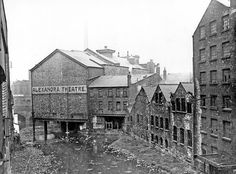 Rear of Alexandra Theatre, showing the combined flow of the rivers Don and Sheaf, from Sheaf Bridge, Exchange Street Old Pictures, Old Photos, Nice Photos, Sources Of Iron, Sheffield England, Industrial Architecture, South Yorkshire, London Transport, Derbyshire