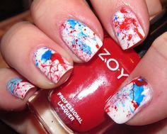 Nail Art : Patriotic Splatter Mani