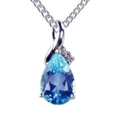 9ct White Gold Diamond Set Large Teardrop Blue Topaz Pendant with 46cm Curb Chain