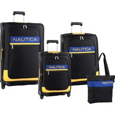 The Nautica Rhumb Line 4 Piece Spinner Luggage is built for convenience and durability. Made from high density fabric and featuring 360 degree spinner wheels for easy maneuverability, the Nautica Rhumb Line Luggage set is perfect for the no nonsense traveler.  Presidents' Day Sale! 33% Off the already low price! At-The-Place Online Shopping Mall!