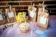 This is such a great idea and the bags are so easy you could put anything in them. Decorate the clothespins and you're in business! Wedding Candy, Diy Wedding, Wedding Favors, Wedding Reception, Dream Wedding, Wedding Ideas, Buffet Wedding, Popcorn Favors, Flavored Popcorn