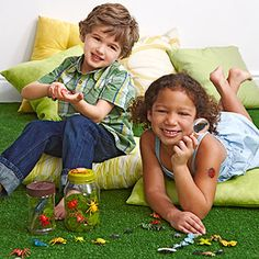 Bug hunt! Buy bugs in bulk and place them around your yard or family room for the kids to hunt. Plastic magnifying glasses will get kids excited to seek out and examine their specimens.