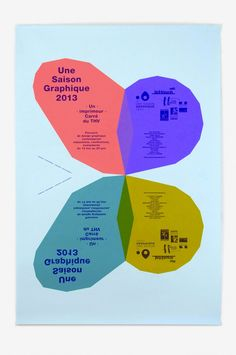 """Fanette Mellier: Affiche Papillon. Context: Une saison graphique, Le Havre, 2013.Printed by: Lézard Graphique.Description: 120 × 176 cm The choice of a butterfly to symbolize the exhibition Un Imprimeur (""""A Printer"""" in English) is to suggest a parallel between Spring and a collection of butterflies and a collection of posters: they both find themselves pinned-up vertically, are preciously preserved, are two-dimensional, etc."""