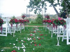 The perfect wedding setting surrounded by beautiful flowers in the presence of your friends and family.