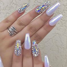 50 Awesome Coffin Nail Designs You'll Flip For So what are coffin nails? For as long as people have been getting manicures, there have been two primary shapes: round and square. We are ready for different nail designs. Coffin Nails Matte, Glam Nails, Fancy Nails, Bling Nails, Love Nails, Beauty Nails, My Nails, Acrylic Nails, Gorgeous Nails