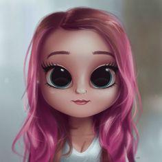 Cartoon, Portrait, Digital Art, Digital Drawing, Digital Painting, Character Design, Drawing, Big Eyes, Cute, Illustration, Art, Girl, Pink, Pink Hair #characterdesigngirl