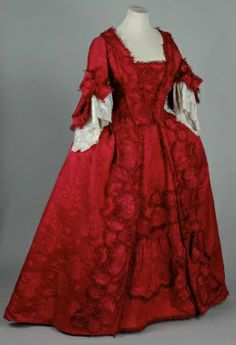 gorgeous red gown, British, circa 1740s via Costume Collection, Leeds Museum