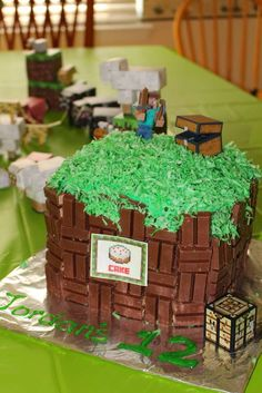 Minecraft birthday party cake! See more party ideas at CatchMyParty.com!