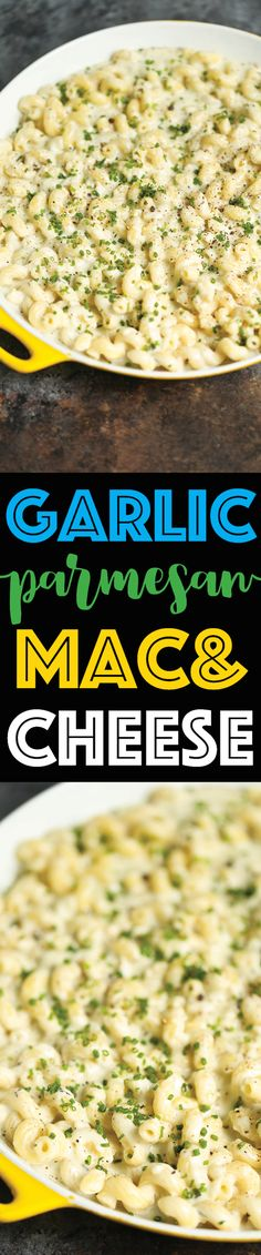 Garlic Parmesan Mac and Cheese (serves - Damn Delicious - This will be the best mac and cheese you will ever have! With 3 different types of cheeses and the creamiest sauce EVER! I Love Food, Good Food, Yummy Food, Tasty, Pasta Dishes, Food Dishes, Side Dishes, Dinner Dishes, Main Dishes