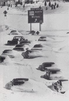 """Blizzard of 1978"" - Feb 5 - 7 [A web-photo of the highway route 128 south of Boston, Massachusetts after the Great Blizzard of 1978]"