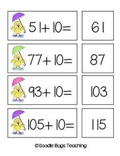 This is a fun spring time math freebie that focuses on +10 facts up to 120 by Doodle Bugs.