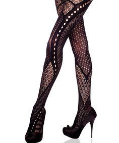 Music Legs Black Lace Medley Tights - Women by Music Legs #zulily #zulilyfinds