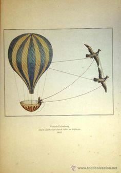 GLOBOS AEROSTATICOS - ROYAL AERONAUTICAL SOCIETY - GRAN LAMINA EN COLOR (Arte - Láminas Antiguas)