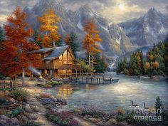 Beautiful Wall Art - Painting - Space for Reflection by Chuck Pinson Emo, Autumn Lake, Classic Artwork, Aspen Trees, Thing 1, Paint By Number Kits, Animation, 5d Diamond Painting, Diamond Art