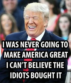 Trump: I was never going to make America great. I can't believe the idiots bought it.