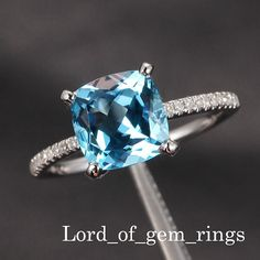 Pave Diamond White Gold 8mm Cushion Aquamarine Ring. My heart DROPPEDDDD as soon as I seen this ring. I'm in love.