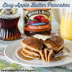 Easy Apple Butter Pancakes Recipe Breakfast and Brunch with pancake mix, apple butter, apple pie spice