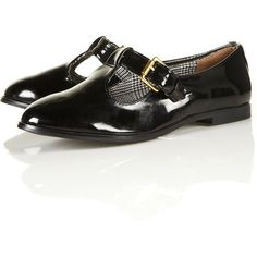 MAYBE Patent T-Bar Shoes ($60) ❤ liked on Polyvore featuring shoes, flats, black t strap flats, black patent leather flats, patent leather shoes, flat pumps and t bar flats