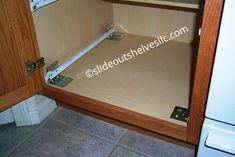 Pan Lid-Cooking Sheet Sliding Shelf-Slide Out Shelves LLC® Slide Out Shelves, Sliding Shelves, Kitchen Pull Out Drawers, Cooking Sheet, Pan Organization, Diy Kitchen, Kitchen Ideas, Kitchen Cabinets, Adjustable Shelving