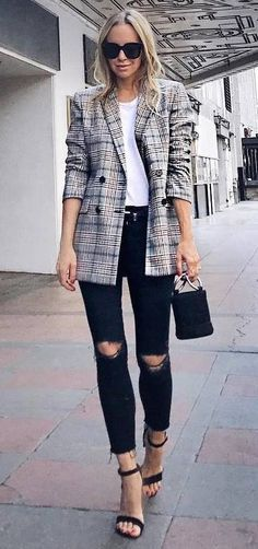 Image result for outfits with oversize plaid blazer