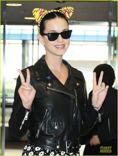 Are you a cat lover? So is Katy Perry! The singer showed her kitty cat pride for National Cat Day while arriving in Japan. National Cat Day, Just Jared, Old Singers, Katy Perry, Celebrity Pictures, Cat Ears, Cat Lovers, Photo Galleries, Vogue