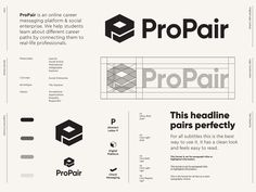 ProPair - Logo Design / Part 3 ✅ ProPair is an online career messaging platform and social enterprise. They help students learn about different career paths by connecting them to real-life profe. Typography Logo, Lettering, Logos, Logo Guidelines, Branding Design, Logo Design, Graphic Design, Different Careers, Web Portfolio