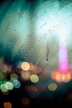 Rainy, colorful blurred photograph