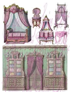 Vintage french furniture drawings