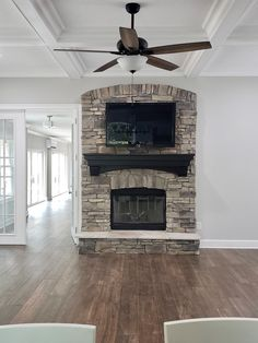 Fireplace Update, Diy Fireplace, Fireplace Stone, Custom Fireplace, Stone Accent Walls, House Paint Exterior, Stone Veneer, House Painting, Outdoor Gardens