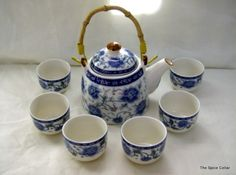 fill tea sets with flowers