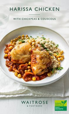 For a hearty dinner, pair fluffy couscous and chickpeas with fragrant harissa chicken for a spicy kick and top with refreshing mint. For extra flavour, add some pitted green olives to the sauce when cooking. Tap for the full Waitrose & Partners recipe. Supper Recipes, Meat Recipes, Indian Food Recipes, Chicken Recipes, Cooking Recipes, Healthy Recipes, Recipies, Waitrose Food, Harissa Chicken