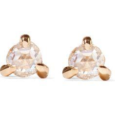 Catbird Sleeping Beauty 14-karat gold diamond earrings ($280) ❤ liked on Polyvore featuring jewelry, earrings, gold, diamond post earrings, 14 karat gold earrings, studded jewelry, diamond jewelry and diamond jewellery