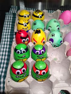 Easter eggs I made for the nephews to enjoy Sunday. Ninja Turtles, Angry Birds/Pigs and Minions. Drew and then added googly eyes