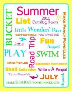 Summer Bucket List Summer Bucket List Summer Bucket List