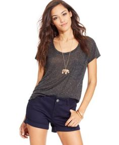 Celebrity Pink Jeans Juniors' Mid Rise Cuffed Denim Shorts | macys.com