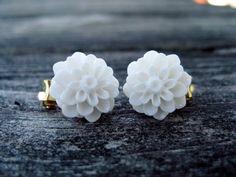 white dahlia flower clip on earrings  $5