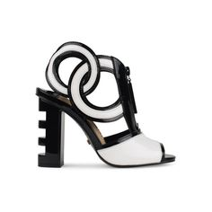 Kat Maconie Heidi Sandals (6 545 UAH) ❤ liked on Polyvore featuring shoes, sandals, black, black patent leather sandals, patent sandals, black shoes, black open toe sandals and cutout sandals