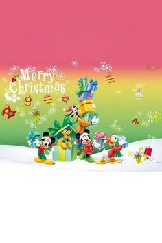 A Mickey and friends Christmas Christmas Messages, Christmas Frames, Christmas Wishes, Christmas Pictures, Christmas Projects, Christmas Art, Xmas, Disney Christmas Decorations, Mickey Mouse Christmas