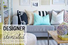 Designer Inspired Pillow Shams | Stenciled Ikea Pillow Shams for only $3 each.