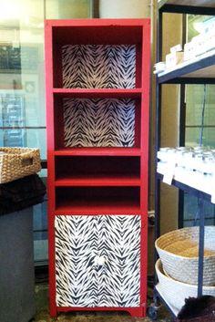 Zebra Furniture Stencil + Chalk Paint® on hutch | Blue Sky Design Supply #chalkpaint #diy #stencils