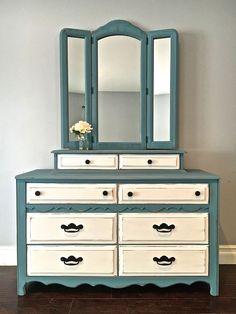 Shabby Chic Blue, White & Black Dresser & Mirror Set - $450 - SOLD #shabbychicdressersblue #shabbychicdresserscolors