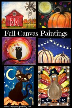 Fall canvas painting - Fall Canvas Paintings Easy Canvas Painting For Beginners Step By Step – Fall canvas painting Halloween Canvas Paintings, Canvas Painting Designs, Canvas Painting Tutorials, Halloween Painting, Acrylic Painting For Beginners, Step By Step Painting, Beginner Painting, Fall Paintings, Halloween Cat