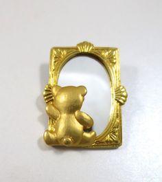 Teddy Bear Brooch Mirror Back Gold Figural by BonniesVintageAttic