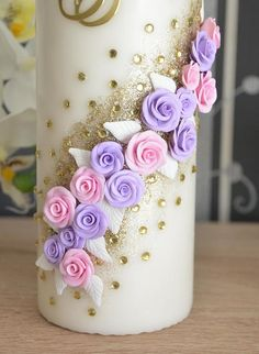 Candle Art, Rose Candle, Wedding Unity Candles, Pillar Candles, Diy Candles Design, Homemade Scented Candles, Handmade Clocks, Toddler Flower Girl Dresses, Christmas Crafts For Kids