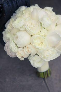 White ranunculus in a bouquet