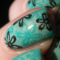 Louis Vuitton Spring Summer 2012 Ready-To-Wear Marc Jacobs inspired nail art konad manicure China Glaze For Audrey flowers m60 m41 stamping