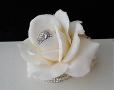 Ivory Real Touch Rose Wrist Corsage- Prom Corsage-Wedding Corsage-Mother of the Bride-Silk Flower Corsage-Homecoming Corsage Homecoming Corsage, Bridesmaid Corsage, Wrist Corsage Wedding, Bridal Cuff, Parts Of A Flower, Flower Corsage, Photo Charms, Ribbon Colors, Silk Flowers