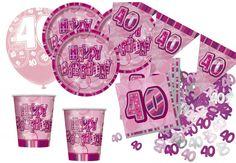 Party Deko zum 40. Geburtstag - Party Set in Pink für 16 Personen